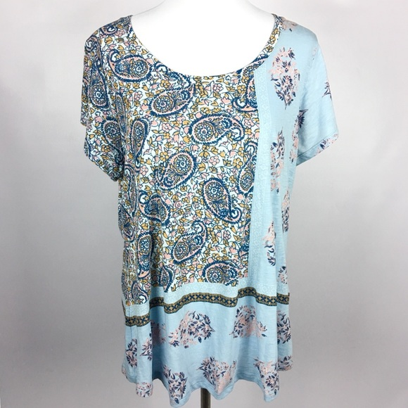 a3787d1f973 Lucky Brand Tops - Lucky Brand 🍀 Floral Paisley Colorblock Tee Shirt